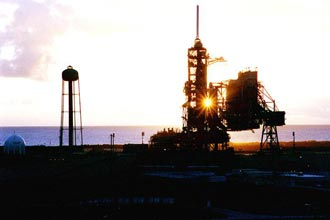 Space shuttle at Cape Canaveral launch pad