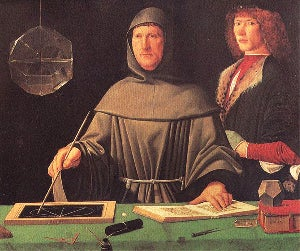 In this portrait of Luca Pacioli, from 1495, you can see a rhombicuboctahedron (half filled with water)