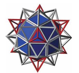 A rhombicuboctahedron within a star-shaped figure