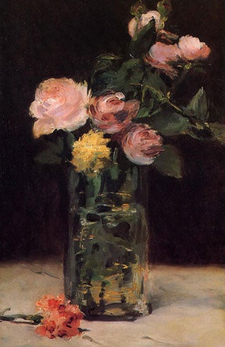 roses in a glass vase manet painting