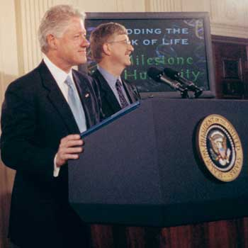 francis collins and bill clinton announced completion of human genome in 2000