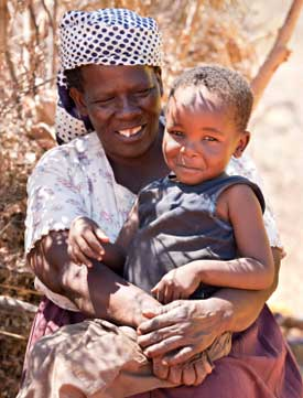 woman with child in botswana, antiretrovirals cut the risk of mother-to-child transmission of hiv via breastfeeding