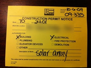 construction permit for solar array