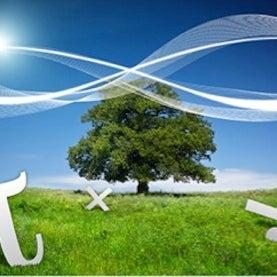 abstract art infinity symbol over tree, pi