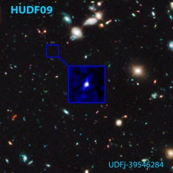 A Hubble Space Telescope image showing the most distant galaxy ever identified