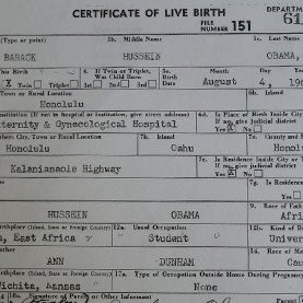 President Obama's Certificate Of Live Birth