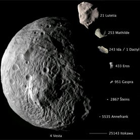 Comparative imagery of nine asteroids