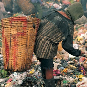A person surviving on waste