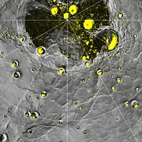 Mercury map with radar-bright features highlighted