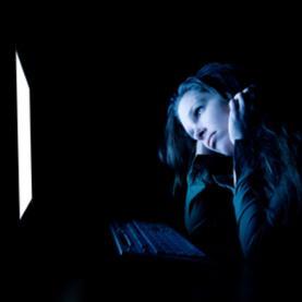 sad woman, woman alone computer