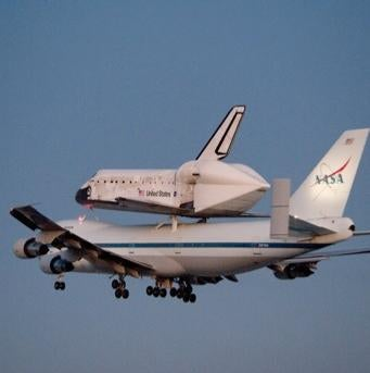 Space shuttle Discovery atop NASA's 747 Shuttle Carrier Aircraft
