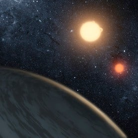 Artist's conception of a planet orbiting twin suns