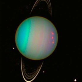 Uranus, its rings and moons
