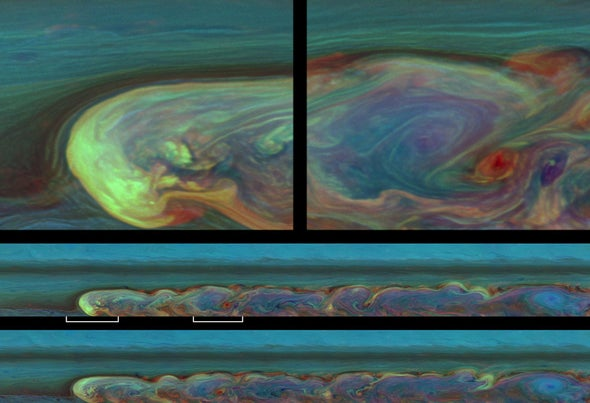 False Color Images of Saturn's Massive Lightning Storm