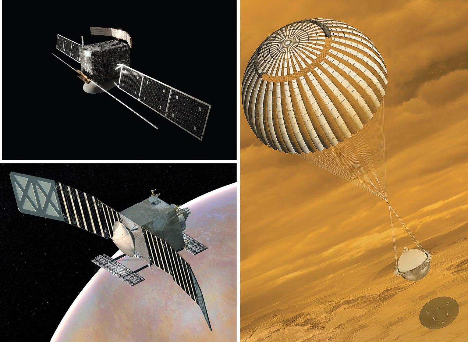 NASA's VERITAS spacecraft concept; Atmospheric probe concept; ESA's EnVision spacecraft concept.