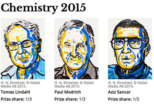 Discovery of DNA Repair Methods Nails 2015 Chemistry Nobel Prize