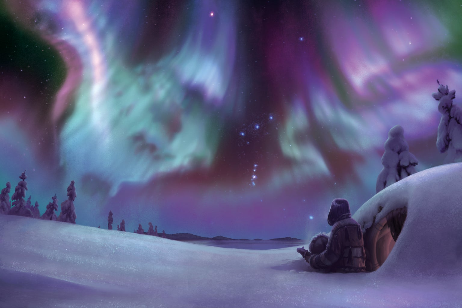 Native people looking at Aurora Borealis