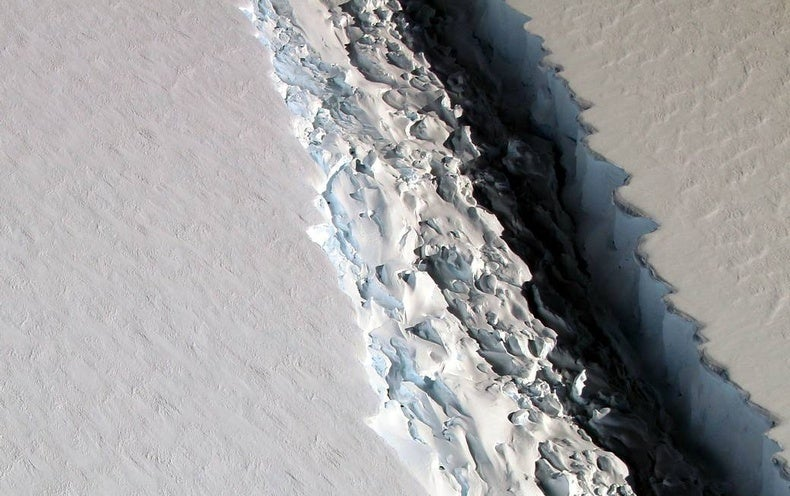 A giant rift in the Larsen C ice shelf is expected to reach the ocean soon.