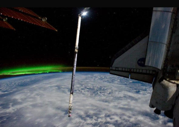 An Astronaut's View of the Southern Lights as the Final Shuttle Mission Wraps Up