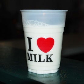 Milk in a cup.