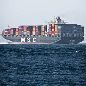 Massive Container Freighter Ship MSC TOMOKO PANAMA in the Santa Barbara Channel
