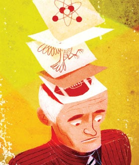 brain, conflicting beliefs, post-it-note brain,man with post-it notes on head