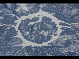 An image of Manicougan Crater as seen from the International Space Station