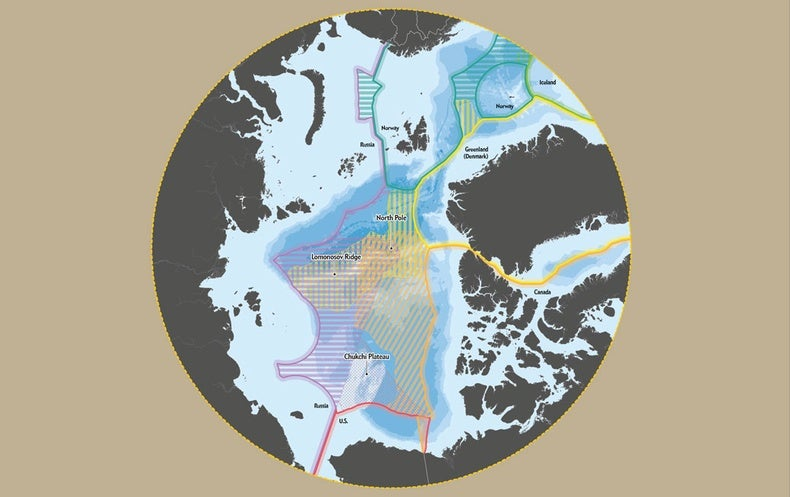 Map showing drawn boundaries in the arctic