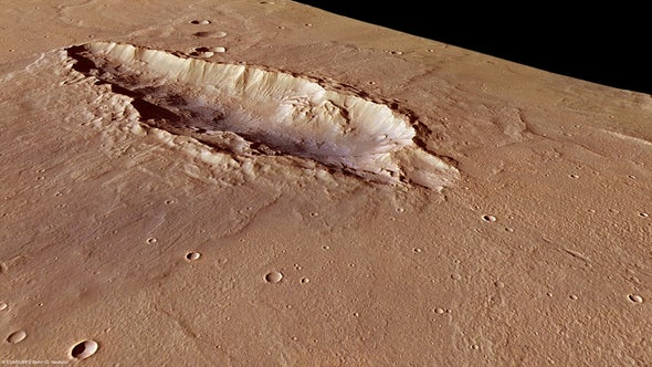 An unusual elongated Martian crater tells tale of a train of impacts
