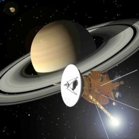An artist's conception of the Cassini spacecraft at Saturn
