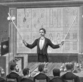 Nikola Tesla lecturing before the French Physical Society and International Society of Electricians: