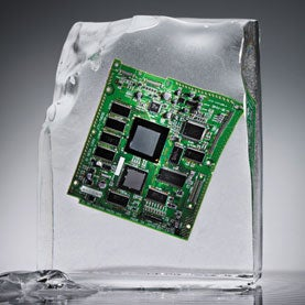 computer chip locked in an ice cube