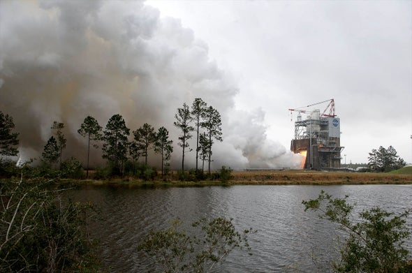 Engine Used on Penultimate Space Shuttle Flight Relit for New NASA Rocket