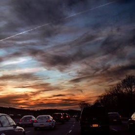 Cirrus and cirrostratus clouds at dusk, Interstate 80 West, Morris County, Pennsylvania.