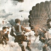 Your parachute is colored khaki. Early versions of these devices were issued to artillery observers manning tethered balloons that were liable to be attacked.