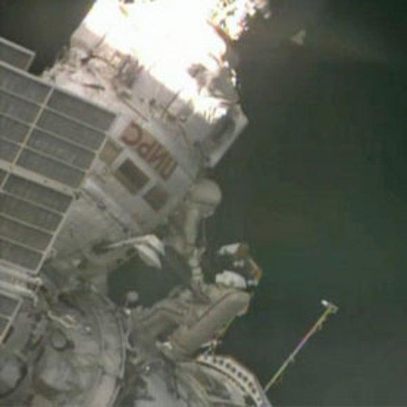 Cosmonauts Take Spacewalk Outside Space Station