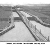 The Gatun Locks, looking south to lake Gatun, 1920: