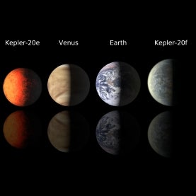 Kepler 20 planets alongside Venus and Earth for scale