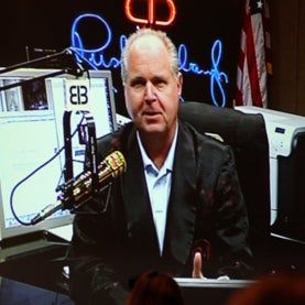 Radio host Rush Limbaugh appearing exclusively live via satellite to the Marriott Ballroom audience at CPAC.