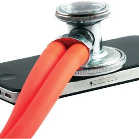 stethescope, iphone, mobile health care, mHealth