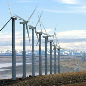 Wind-turbines - A foggy day at the wind farm nea