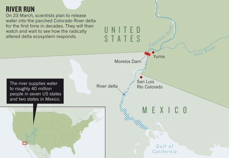 Water Returns To Arid Colorado River Delta Scientific American - Colorado river on us map