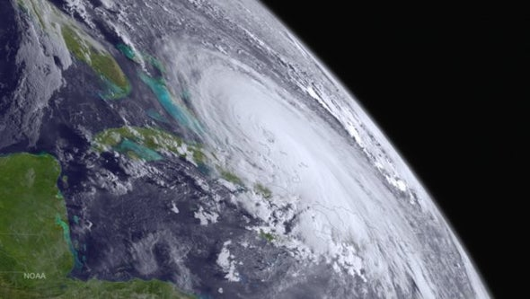 Eye of Hurricane Joaquin Passing over Bahamas