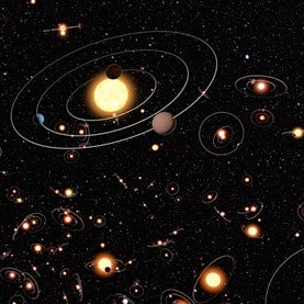 Artist's depiction of exoplanets orbiting a majority of stars