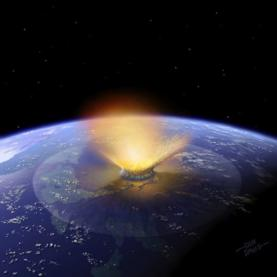 Artist's impression of a 6-mile-wide asteroid striking the Earth. Scientists now have fresh evidence that such a cosmic impact ended the age of dinosaurs near what is now the town of Chixculub in Mexico.