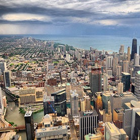 Chicago skyline with rain approaching