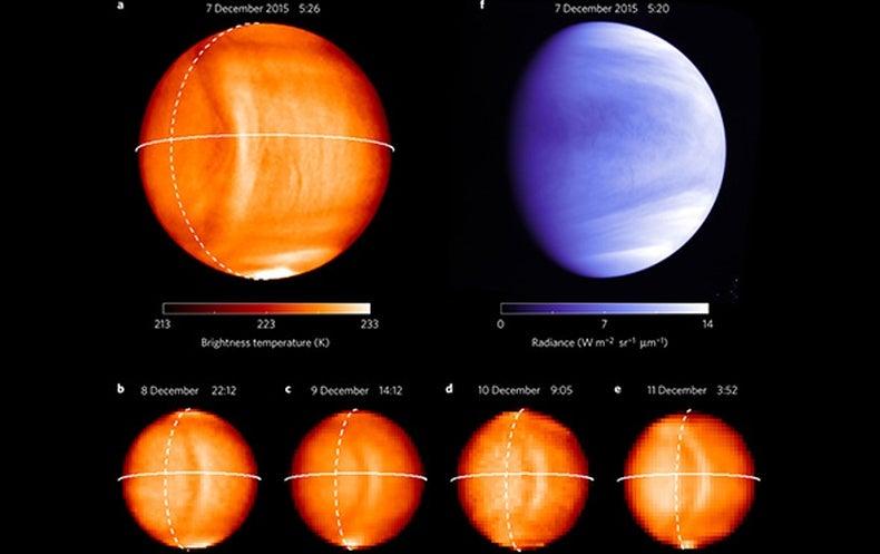 Imagen de una onda de gravedad que se propaga por la alta atmósfera de Venus. Las imágenes en color naranja son infrarrojas, y la imagen azul corresponde al ultravioleta. La línea continua marca el ecuador del planeta; la línea discontinua marca la frontera entre la noche y el día.