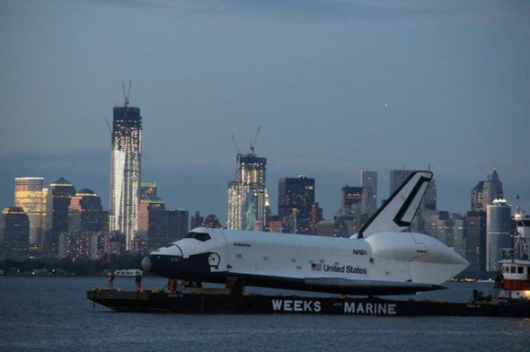 Space Shuttle <i>Enterprise</i> Cruises New York Waterfront