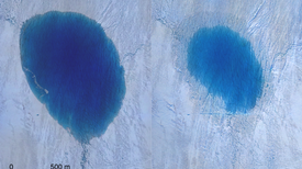 Huge Lakes Abruptly Empty into Greenland Ice Sheet