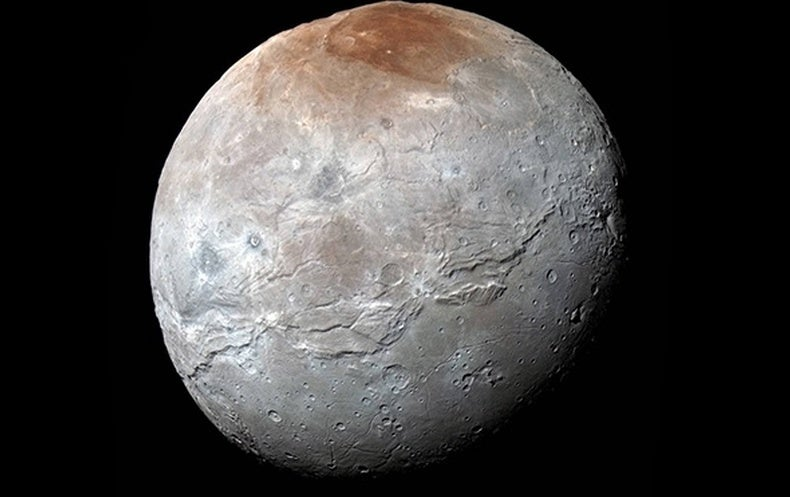 Pluto's largest moon, Charon, is covered in cracks and fissures from when a liquid mantle froze and expanded, new research suggests. Credit: NASA/JHUAPL/SwRI